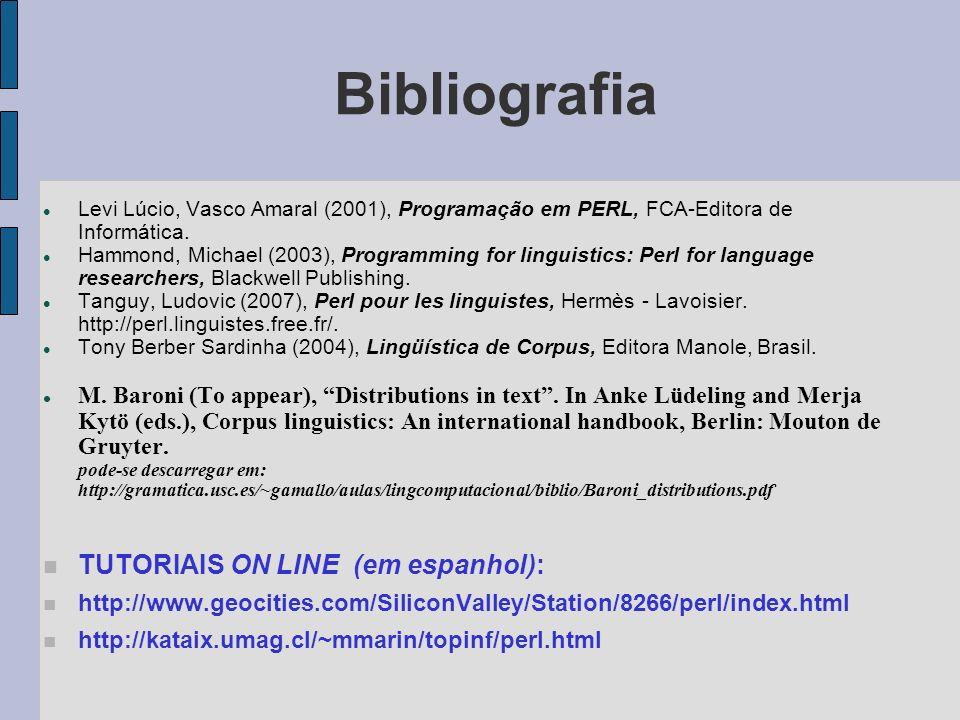 Bibliografia Levi Lúcio, Vasco Amaral (2001), Programação em PERL, FCA-Editora de Informática.
