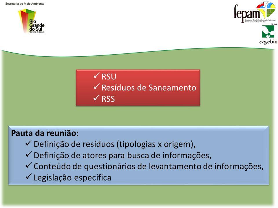 Pauta da reunião: Definição de resíduos (tipologias x origem), Definição de atores para busca de informações, Conteúdo de questionários de levantamento de informações, Legislação específica Pauta da reunião: Definição de resíduos (tipologias x origem), Definição de atores para busca de informações, Conteúdo de questionários de levantamento de informações, Legislação específica RSU Resíduos de Saneamento RSS RSU Resíduos de Saneamento RSS