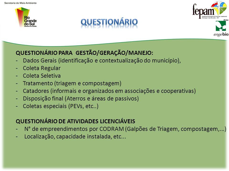 QUESTIONÁRIO PARA GESTÃO/GERAÇÃO/MANEJO: -Dados Gerais (identificação e contextualização do município), -Coleta Regular -Coleta Seletiva -Tratamento (triagem e compostagem) -Catadores (informais e organizados em associações e cooperativas) -Disposição final (Aterros e áreas de passivos) -Coletas especiais (PEVs, etc..) QUESTIONÁRIO DE ATIVIDADES LICENCIÁVEIS -N° de empreendimentos por CODRAM (Galpões de Triagem, compostagem,...) -Localização, capacidade instalada, etc...