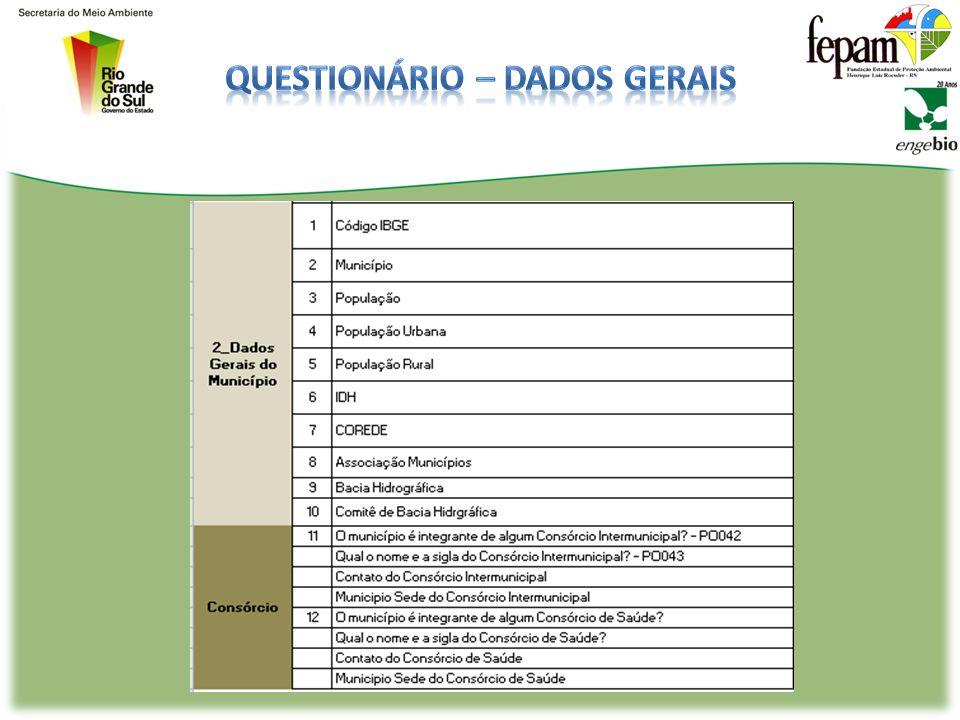 QUESTIONÁRIO PARA GESTÃO/GERAÇÃO/MANEJO: -Dados Gerais (identificação e contextualização do município), -Coleta Regular -Coleta Seletiva -Tratamento (
