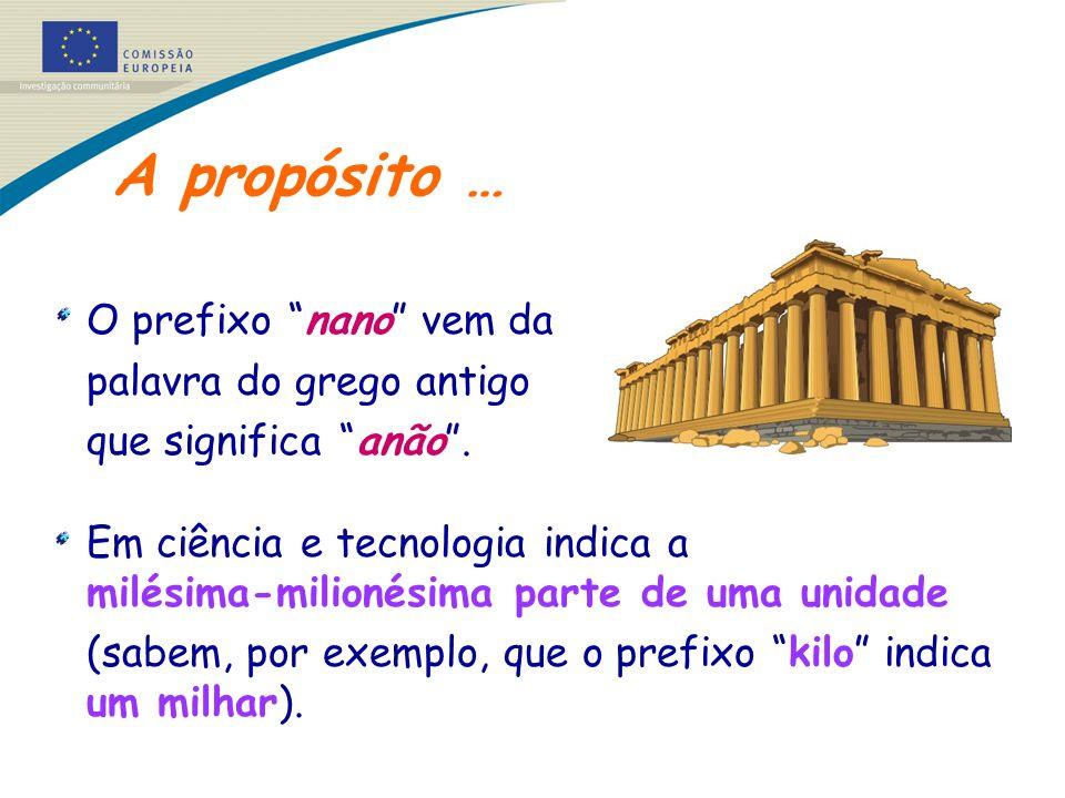 A propósito … O prefixo nano vem da palavra do grego antigo que significa anão. Em ciência e tecnologia indica a milésima-milionésima parte de uma uni