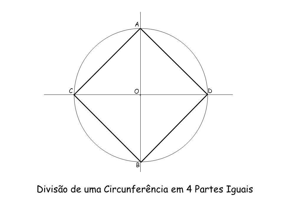Divisão de uma Circunferência em 4 Partes Iguais A B CD O.