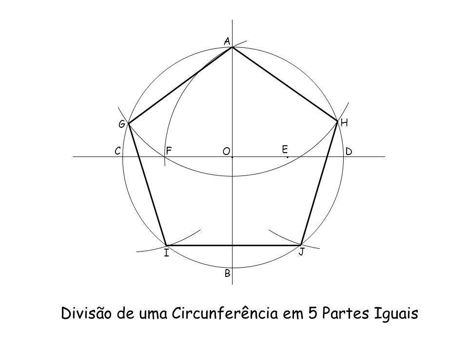 Divisão de uma Circunferência em 5 Partes Iguais A B C D O.. E F G H I J