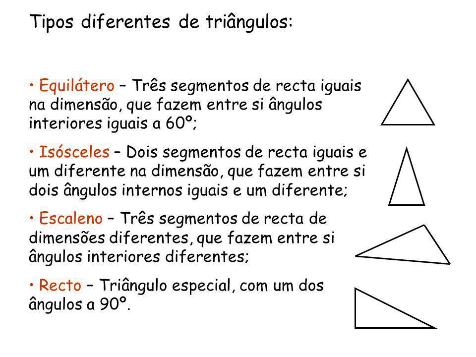 Tipos diferentes de triângulos: Equilátero – Três segmentos de recta iguais na dimensão, que fazem entre si ângulos interiores iguais a 60º; Isósceles – Dois segmentos de recta iguais e um diferente na dimensão, que fazem entre si dois ângulos internos iguais e um diferente; Escaleno – Três segmentos de recta de dimensões diferentes, que fazem entre si ângulos interiores diferentes; Recto – Triângulo especial, com um dos ângulos a 90º.