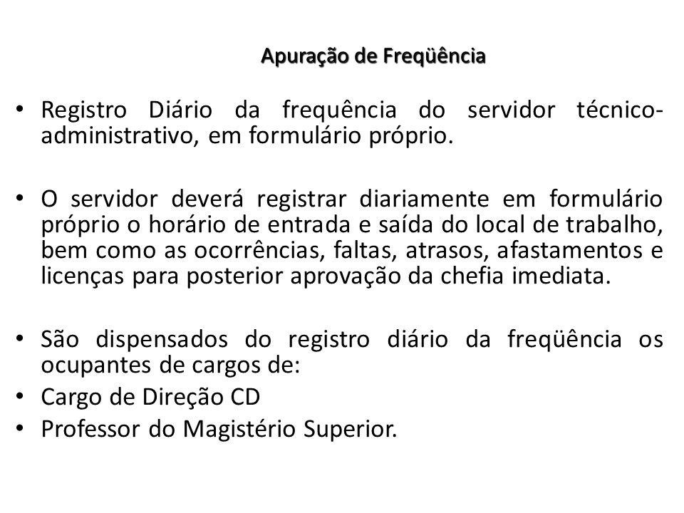 Registro Diário da frequência do servidor técnico- administrativo, em formulário próprio.