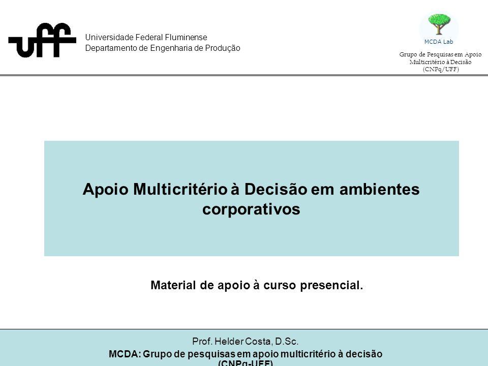 Apoio Multicritério à Decisão em ambientes corporativos Helder Gomes Costa Grupo de pequisa: Auxílio multicritério à decisão (CNPq/UFF) MCDA Lab Julgamentos de valor AlternativaCritéri Peso =5 Critério 2 Peso = 3 Critério Peso = 2 A1B8128 A2MB6128 A3M4134 A4R2198
