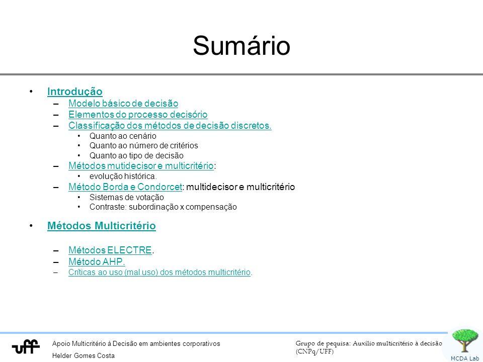 Apoio Multicritério à Decisão em ambientes corporativos Helder Gomes Costa Grupo de pequisa: Auxílio multicritério à decisão (CNPq/UFF) MCDA Lab Sumár