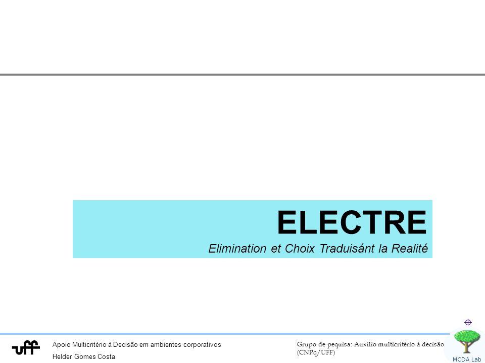 Apoio Multicritério à Decisão em ambientes corporativos Helder Gomes Costa Grupo de pequisa: Auxílio multicritério à decisão (CNPq/UFF) MCDA Lab ELECTRE Elimination et Choix Traduisánt la Realité