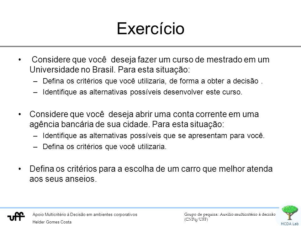 Apoio Multicritério à Decisão em ambientes corporativos Helder Gomes Costa Grupo de pequisa: Auxílio multicritério à decisão (CNPq/UFF) MCDA Lab Exercício Considere que você deseja fazer um curso de mestrado em um Universidade no Brasil.
