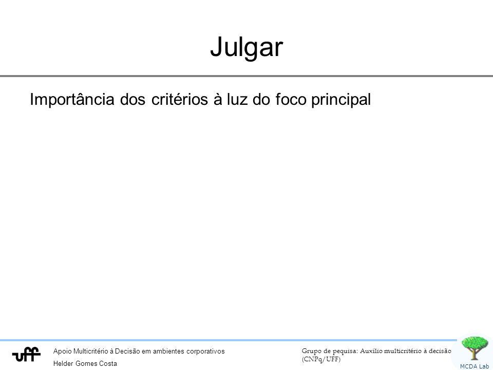 Apoio Multicritério à Decisão em ambientes corporativos Helder Gomes Costa Grupo de pequisa: Auxílio multicritério à decisão (CNPq/UFF) MCDA Lab Julgar Importância dos critérios à luz do foco principal