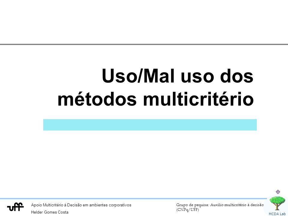 Apoio Multicritério à Decisão em ambientes corporativos Helder Gomes Costa Grupo de pequisa: Auxílio multicritério à decisão (CNPq/UFF) MCDA Lab Uso/M