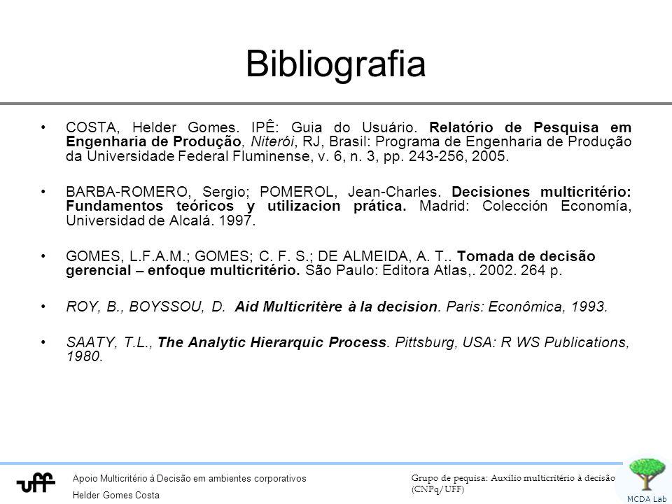 Apoio Multicritério à Decisão em ambientes corporativos Helder Gomes Costa Grupo de pequisa: Auxílio multicritério à decisão (CNPq/UFF) MCDA Lab Bibliografia COSTA, Helder Gomes.