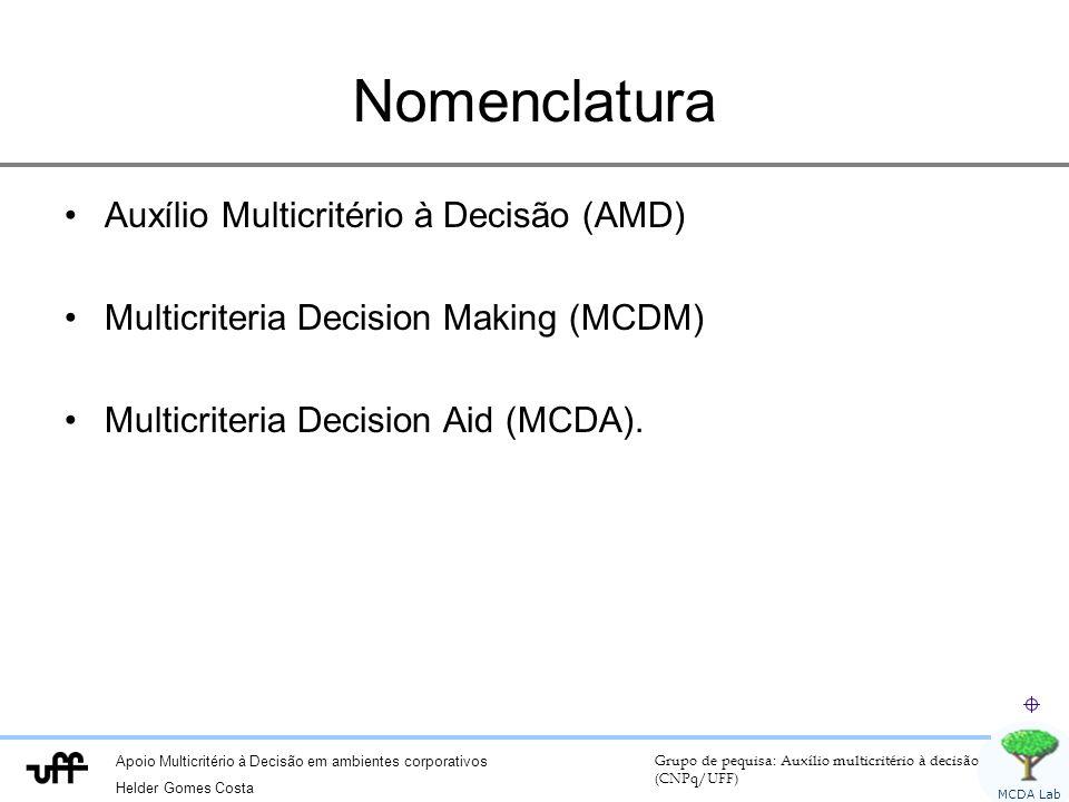 Apoio Multicritério à Decisão em ambientes corporativos Helder Gomes Costa Grupo de pequisa: Auxílio multicritério à decisão (CNPq/UFF) MCDA Lab Nomenclatura Auxílio Multicritério à Decisão (AMD) Multicriteria Decision Making (MCDM) Multicriteria Decision Aid (MCDA).