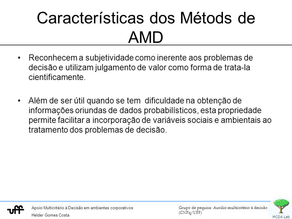 Apoio Multicritério à Decisão em ambientes corporativos Helder Gomes Costa Grupo de pequisa: Auxílio multicritério à decisão (CNPq/UFF) MCDA Lab Características dos Métods de AMD Reconhecem a subjetividade como inerente aos problemas de decisão e utilizam julgamento de valor como forma de trata-la cientificamente.