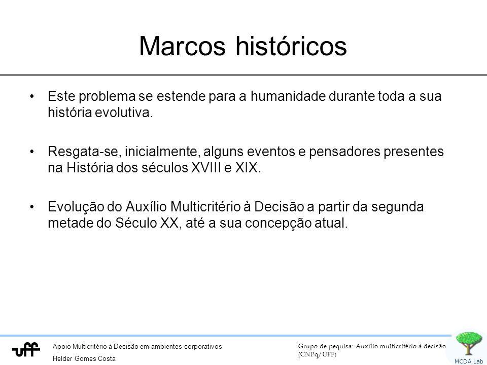 Apoio Multicritério à Decisão em ambientes corporativos Helder Gomes Costa Grupo de pequisa: Auxílio multicritério à decisão (CNPq/UFF) MCDA Lab Marcos históricos Este problema se estende para a humanidade durante toda a sua história evolutiva.