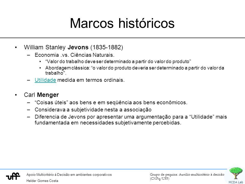 Apoio Multicritério à Decisão em ambientes corporativos Helder Gomes Costa Grupo de pequisa: Auxílio multicritério à decisão (CNPq/UFF) MCDA Lab Marcos históricos William Stanley Jevons (1835-1882) –Economia.vs.