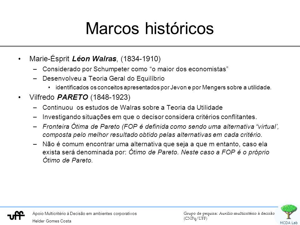 Apoio Multicritério à Decisão em ambientes corporativos Helder Gomes Costa Grupo de pequisa: Auxílio multicritério à decisão (CNPq/UFF) MCDA Lab Marcos históricos Marie-Ésprit Léon Walras, (1834-1910) –Considerado por Schumpeter como o maior dos economistas –Desenvolveu a Teoria Geral do Equilíbrio identificados os conceitos apresentados por Jevon e por Mengers sobre a utilidade.