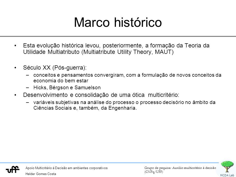 Apoio Multicritério à Decisão em ambientes corporativos Helder Gomes Costa Grupo de pequisa: Auxílio multicritério à decisão (CNPq/UFF) MCDA Lab Marco