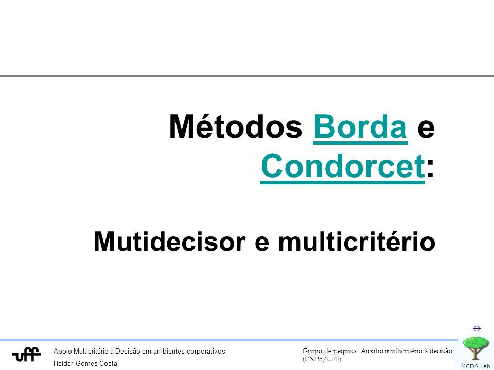 Apoio Multicritério à Decisão em ambientes corporativos Helder Gomes Costa Grupo de pequisa: Auxílio multicritério à decisão (CNPq/UFF) MCDA Lab Métodos Borda e Condorcet:Borda Condorcet Mutidecisor e multicritério