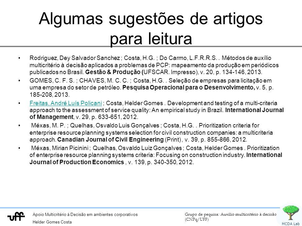 Apoio Multicritério à Decisão em ambientes corporativos Helder Gomes Costa Grupo de pequisa: Auxílio multicritério à decisão (CNPq/UFF) MCDA Lab Tabela de votos E1E2E3E4E5E6 CD13 3 3 CD2222212 CD3 3 12 CD4111331