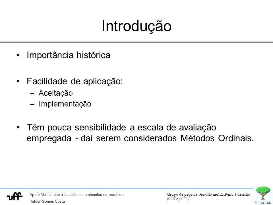 Apoio Multicritério à Decisão em ambientes corporativos Helder Gomes Costa Grupo de pequisa: Auxílio multicritério à decisão (CNPq/UFF) MCDA Lab Intro
