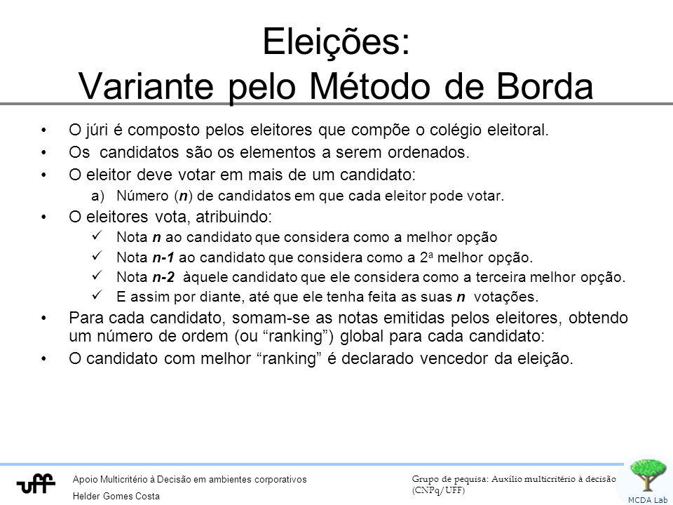 Apoio Multicritério à Decisão em ambientes corporativos Helder Gomes Costa Grupo de pequisa: Auxílio multicritério à decisão (CNPq/UFF) MCDA Lab Eleições: Variante pelo Método de Borda O júri é composto pelos eleitores que compõe o colégio eleitoral.