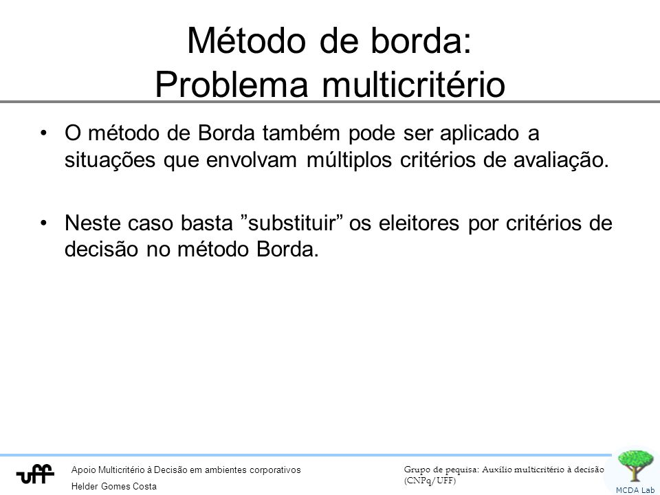 Apoio Multicritério à Decisão em ambientes corporativos Helder Gomes Costa Grupo de pequisa: Auxílio multicritério à decisão (CNPq/UFF) MCDA Lab Método de borda: Problema multicritério O método de Borda também pode ser aplicado a situações que envolvam múltiplos critérios de avaliação.