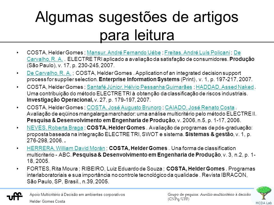 Apoio Multicritério à Decisão em ambientes corporativos Helder Gomes Costa Grupo de pequisa: Auxílio multicritério à decisão (CNPq/UFF) MCDA Lab Comparações paritárias Alternativa que sobrou?.