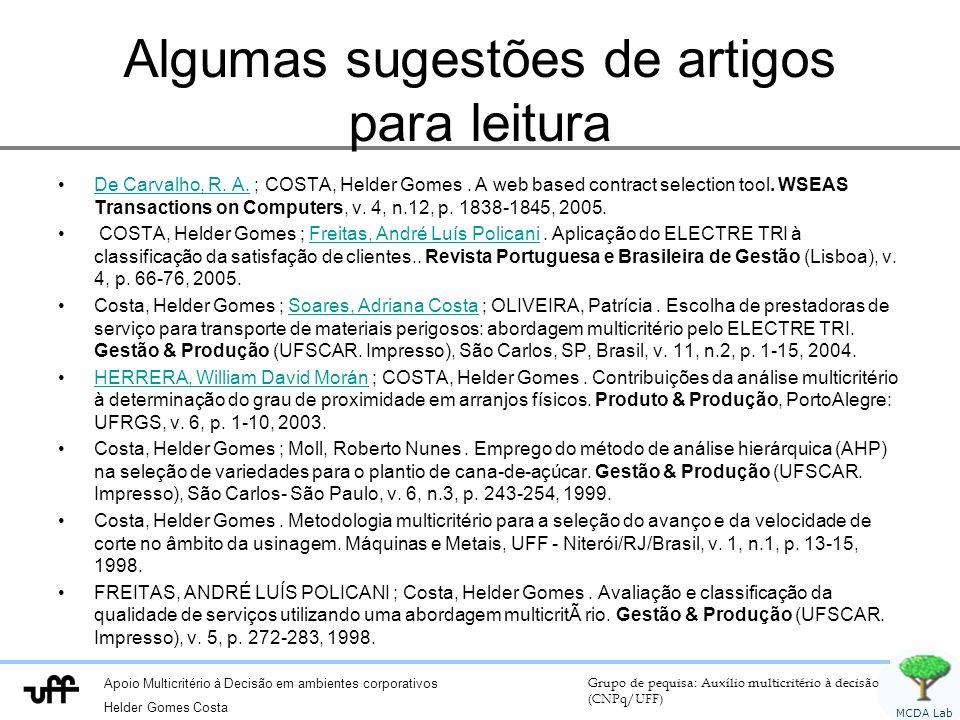 Apoio Multicritério à Decisão em ambientes corporativos Helder Gomes Costa Grupo de pequisa: Auxílio multicritério à decisão (CNPq/UFF) MCDA Lab Algum