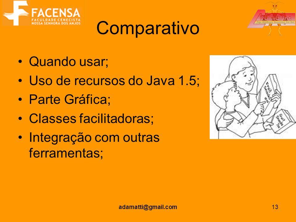 adamatti@gmail.com13 Comparativo Quando usar; Uso de recursos do Java 1.5; Parte Gráfica; Classes facilitadoras; Integração com outras ferramentas;