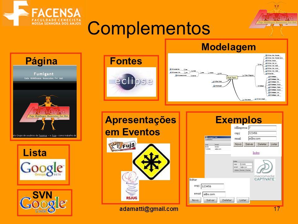 adamatti@gmail.com17 Complementos Página Lista SVN Fontes Modelagem ExemplosApresentações em Eventos