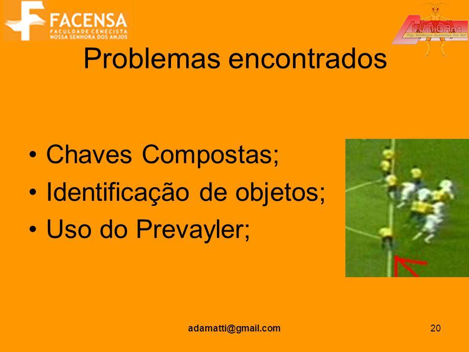 adamatti@gmail.com20 Problemas encontrados Chaves Compostas; Identificação de objetos; Uso do Prevayler;