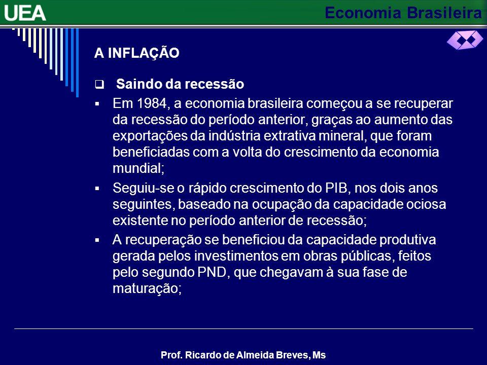 Economia Brasileira Prof. Ricardo de Almeida Breves, Ms A INFLAÇÃO Saindo da recessão Em 1984, a economia brasileira começou a se recuperar da recessã