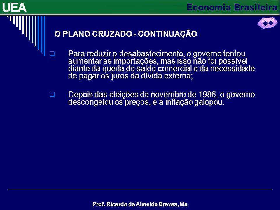 Economia Brasileira Prof. Ricardo de Almeida Breves, Ms O PLANO CRUZADO - CONTINUAÇÃO Para reduzir o desabastecimento, o governo tentou aumentar as im