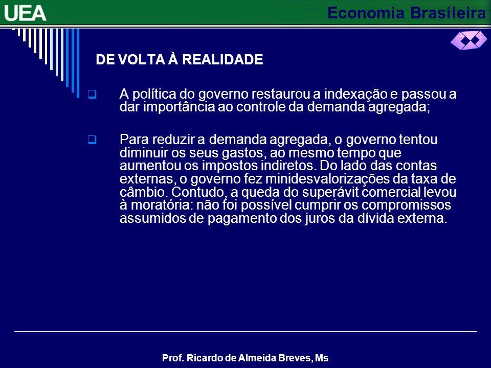 Economia Brasileira Prof. Ricardo de Almeida Breves, Ms DE VOLTA À REALIDADE A política do governo restaurou a indexação e passou a dar importância ao