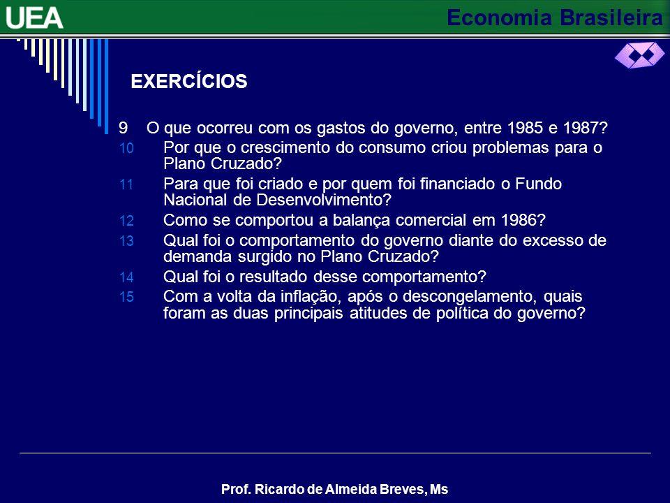 Economia Brasileira Prof. Ricardo de Almeida Breves, Ms EXERCÍCIOS 9 O que ocorreu com os gastos do governo, entre 1985 e 1987? 10 Por que o crescimen