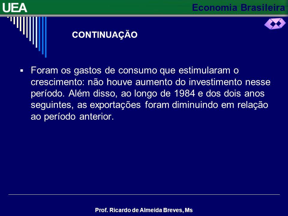 Economia Brasileira Prof. Ricardo de Almeida Breves, Ms CONTINUAÇÃO Foram os gastos de consumo que estimularam o crescimento: não houve aumento do inv