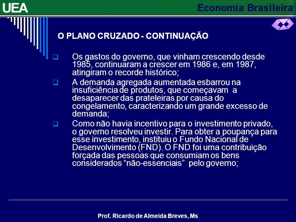 Economia Brasileira Prof. Ricardo de Almeida Breves, Ms O PLANO CRUZADO - CONTINUAÇÃO Os gastos do governo, que vinham crescendo desde 1985, continuar