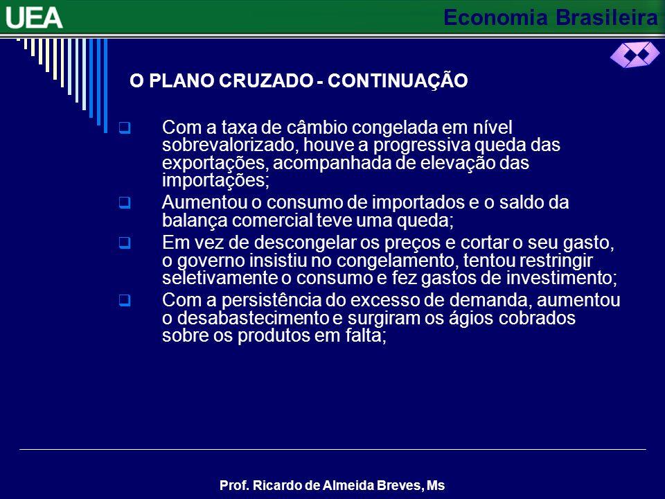 Economia Brasileira Prof. Ricardo de Almeida Breves, Ms O PLANO CRUZADO - CONTINUAÇÃO Com a taxa de câmbio congelada em nível sobrevalorizado, houve a