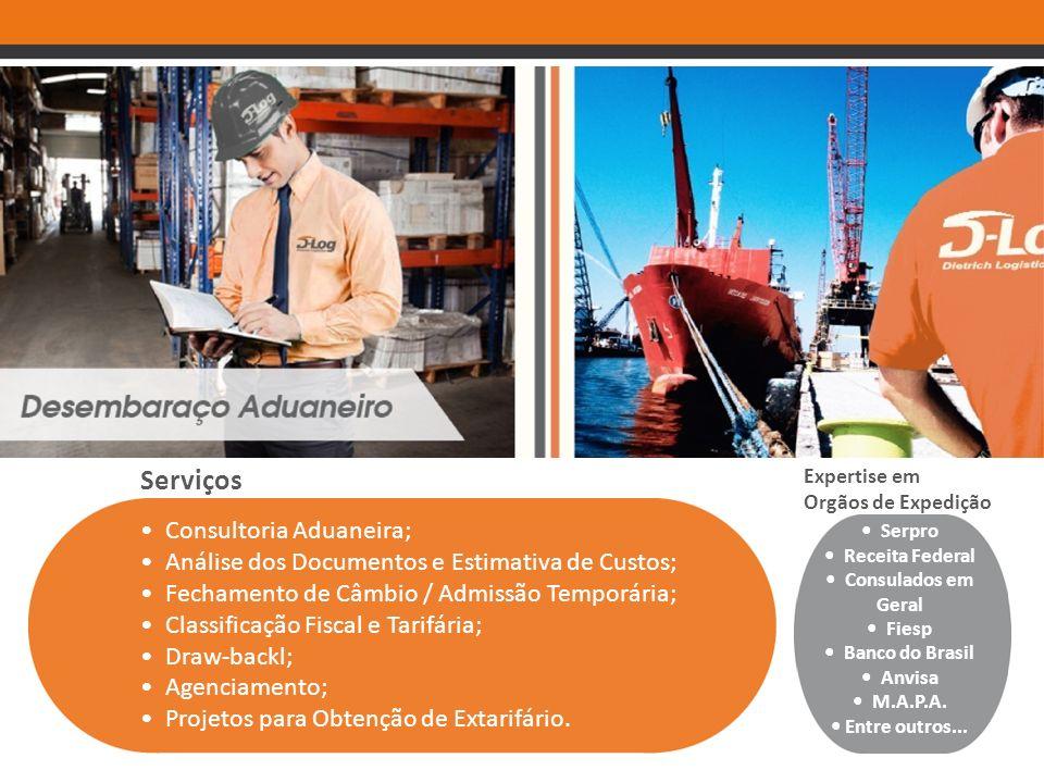 Serviços Consultoria Aduaneira; Análise dos Documentos e Estimativa de Custos; Fechamento de Câmbio / Admissão Temporária; Classificação Fiscal e Tari