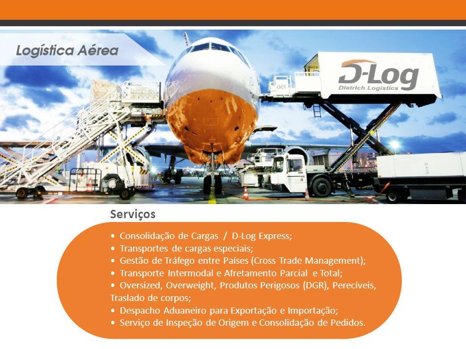 Serviços Consolidação de Cargas / D-Log Express; Transportes de cargas especiais; Gestão de Tráfego entre Países (Cross Trade Management); Transporte
