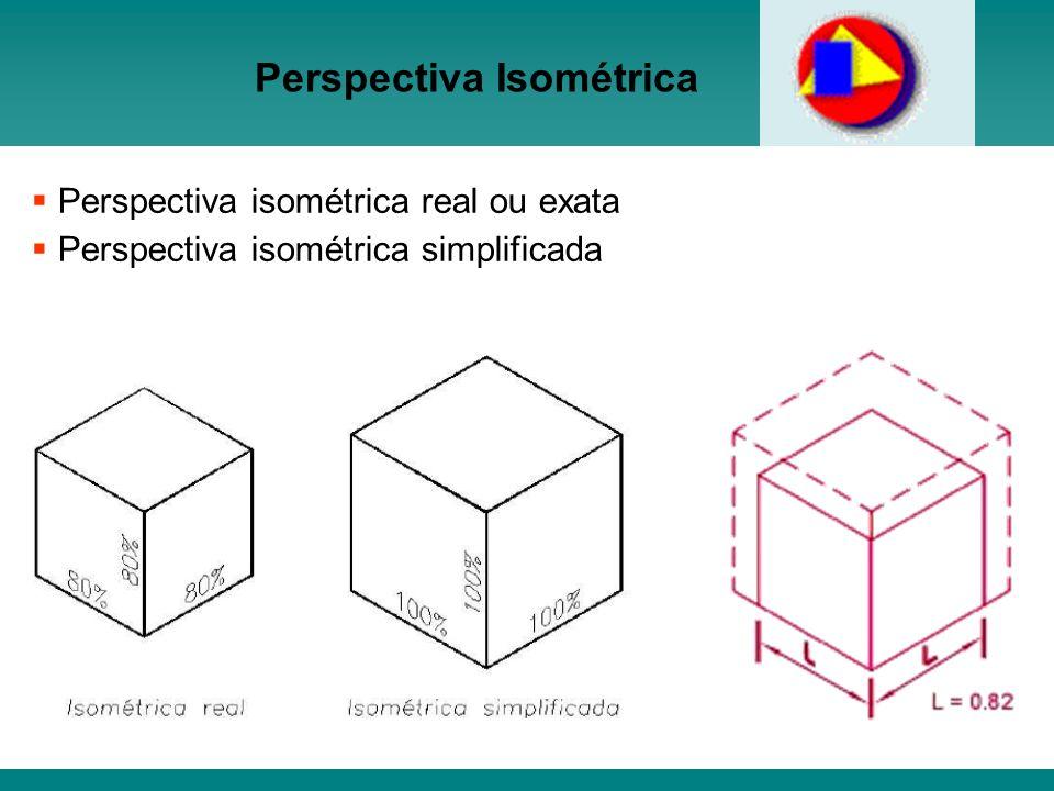 Perspectiva Isométrica Perspectiva isométrica real ou exata Perspectiva isométrica simplificada