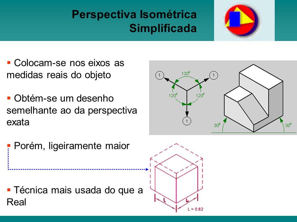 Perspectiva Isométrica Simplificada Colocam-se nos eixos as medidas reais do objeto Obtém-se um desenho semelhante ao da perspectiva exata Porém, lige