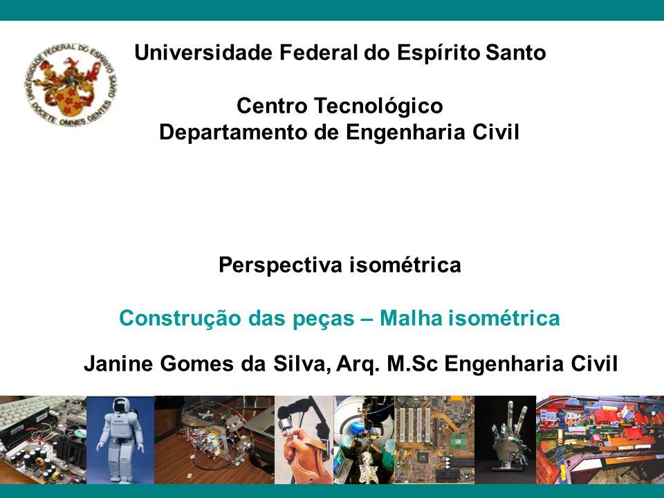 Universidade Federal do Espírito Santo Centro Tecnológico Departamento de Engenharia Civil Perspectiva isométrica Construção das peças – Malha isométr