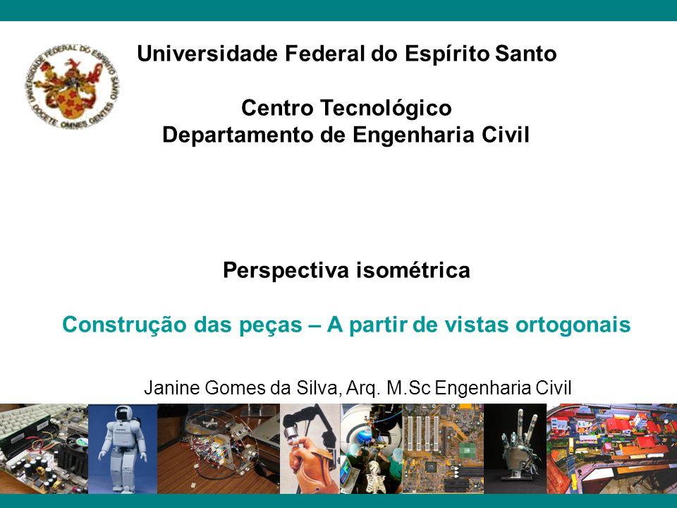 Universidade Federal do Espírito Santo Centro Tecnológico Departamento de Engenharia Civil Perspectiva isométrica Construção das peças – A partir de v