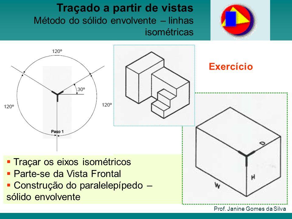 Traçar os eixos isométricos Parte-se da Vista Frontal Construção do paralelepípedo – sólido envolvente Prof. Janine Gomes da Silva Traçado a partir de
