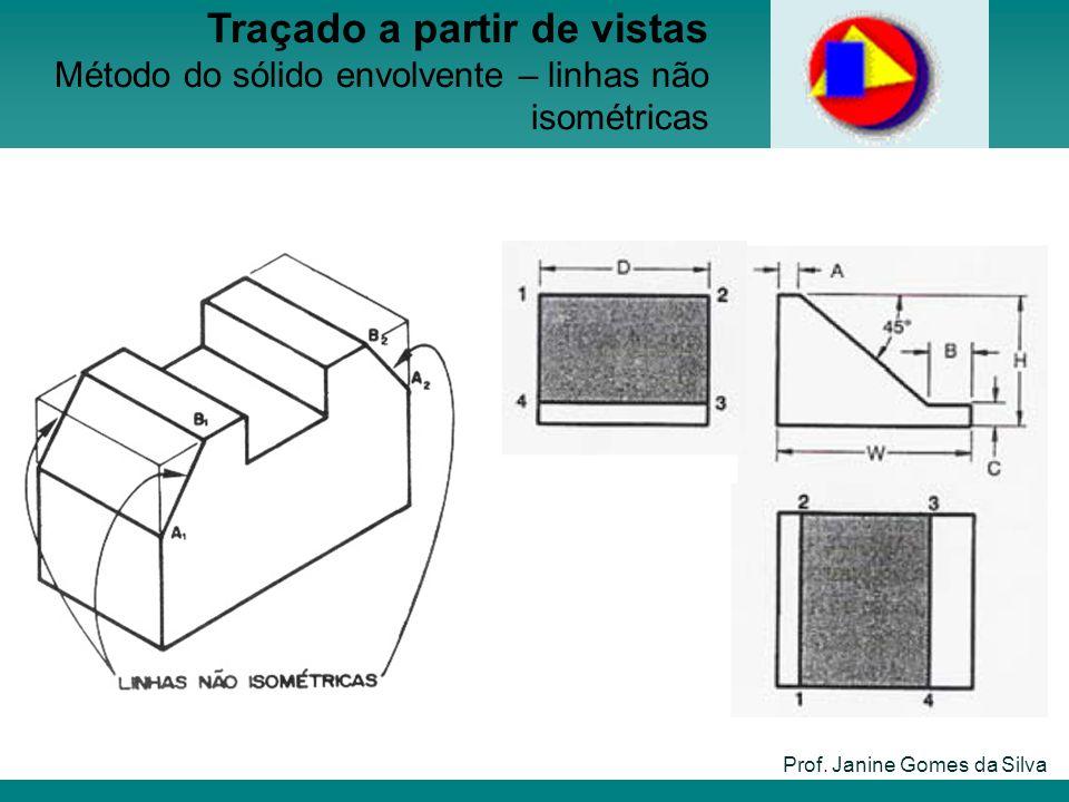 Prof. Janine Gomes da Silva Traçado a partir de vistas Método do sólido envolvente – linhas não isométricas