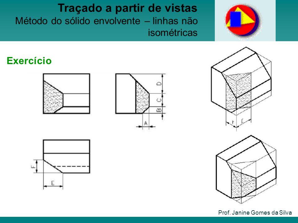 Prof. Janine Gomes da Silva Traçado a partir de vistas Método do sólido envolvente – linhas não isométricas Exercício
