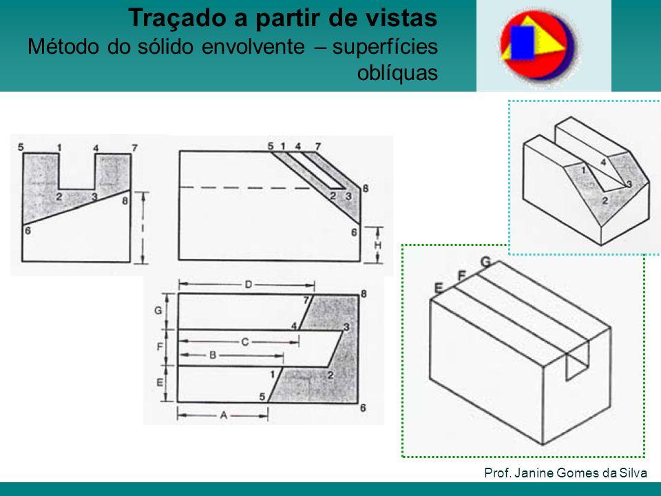 Prof. Janine Gomes da Silva Traçado a partir de vistas Método do sólido envolvente – superfícies oblíquas