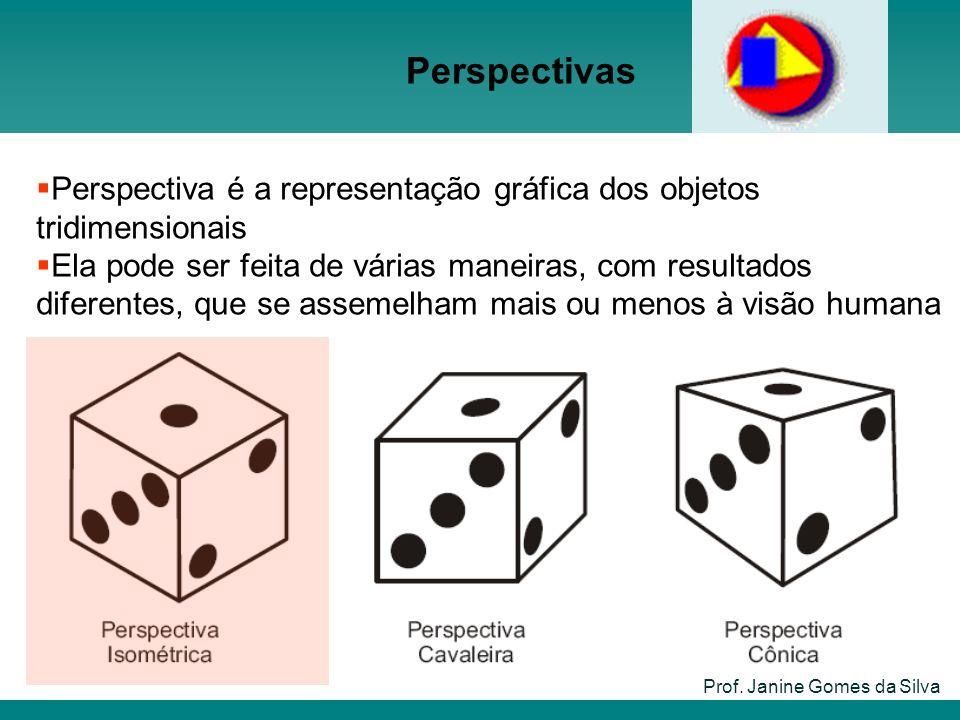Perspectivas Prof. Janine Gomes da Silva Perspectiva é a representação gráfica dos objetos tridimensionais Ela pode ser feita de várias maneiras, com